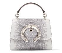 Madeline TOP Handle/s Handtasche aus porzellanfarbenem Leder mit Eidechsen-Print und Tragegriff