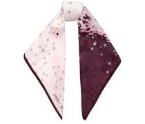 Remi Foulard aus Seide mit traubenfarbenem und veilchenblauem Print