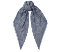 Mario H6S072930 Halstuch aus blau-grauem gewobenem Jacquard