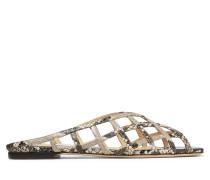 SAI Flat Flache Schuhe aus natürlichem Leder mit Schlangen-Print