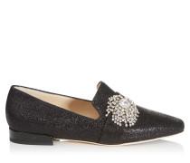 Jaida Flat Flache Schuhe aus schwarzem Lurex