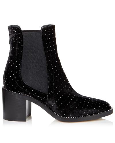 Merril 65 Stiefel aus schwarzem Leder mit Glitzertupfen und kristallverziertem Rahmen