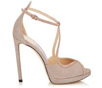 Fawne 120 Sandalen aus Wildleder in Ballettrosa und Glitzer-Meschgewebe
