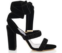 Marcella 95 Sandalen aus schwarzem Samt