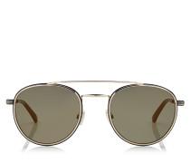 Dave Sonnenbrille aus schwarzem und goldenem Metall mit Spiegelgläsern
