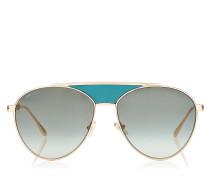 AVE Aviator-Sonnenbrille aus Metall in Gold und Grün mit Emaildetails an den Bügeln