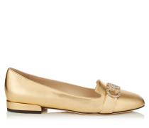 Jaden Flat Flache Schuhe mit runder Zehenpartie aus goldenem Nappaleder mit Metallic-Optik