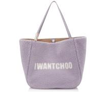 Stevie Tote Tasche aus Shearling in Violett und Natur mit I Want Choo Logo
