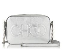Balti Minitasche aus Nappaleder in Silbermetallic mit Logoprägung