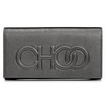 Santini Mini-Tasche aus anthrazitfarbenem Nappaleder mit Metallic-Optik