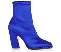 Mica 100 Stiefel aus Stretch-Satin in elektrischem Blau mit eckiger Zehenpartie