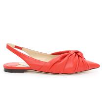 Annabell Flat Flache spitze Schuhe mit Slingback-Riemen aus Nappaleder in Chili