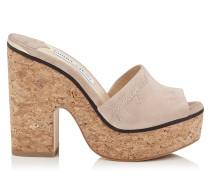 Deedee 125 Sandaletten aus Wildleder in Ballettrosa mit Wedge und Logostickerei