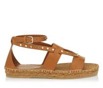 Denise Flat Flache Schuhe aus braunem Vachetteleder mit Nietendetails