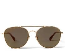 Abbie Aviator Sonnenbrille mit goldenem Glitzer, Spiegelgläsern und metallischem Gestell