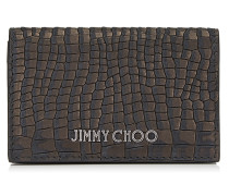 Belsize Kartenetui aus schwarzem Nubukleder mit Krokodil-Print