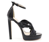 Abril 130 Sandalen aus schwarzem Nappaleder mit Lederrüschen