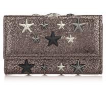 Howick Schlüsselanhänger aus stahlfarbenem Glitzerleder mit metallischen Sternen