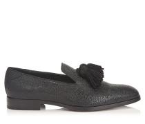 Foxley Mokassins aus schwarzem Lackleder mit Kaviar-Print und Quasten