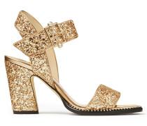 Minase 85 Sandaletten aus goldenem grobem Glitzergewebe mit glamourösem Design