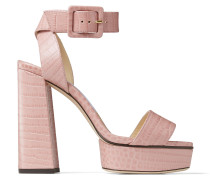 Jax/pf 125 Sandalen mit Plateausohle aus Leder mit Krokodilrelief in Rosé