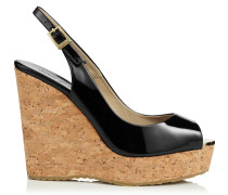 Prova Black Patent Leather Cork Wedge Sandals