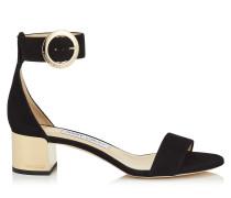 Jaimie 40 Sandalette aus schwarzem Wildleder mit rundem Schnallenverschluss