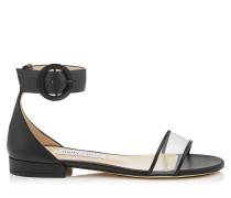Jaimie Flat Sandalen aus schwarzem Nappaleder und durchsichtigem Plexi