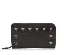 Carnaby Reisebrieftasche aus schwarzem Satinleder mit Krokoprägung und Sternen