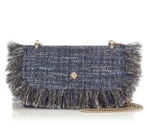 Finley Kleine Tasche aus dunkelblauem Tweed in Metallic-Optik mit Fransen