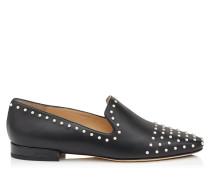 Jaida Flat Flache Schuhe aus schwarzem Leder mit Perlendetails