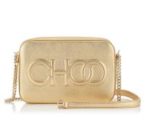 Balti Kleine Tasche aus metallischem Nappaleder in Gold mit Logo