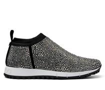 Norway Sneaker aus schwarzem Gewebe mit Hotfix Kristall
