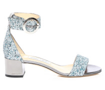 Jaimie 40 Sandalen aus grobem Glitzergewebe in Denim Mix