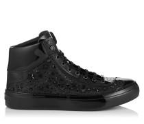 Argyle High-Top-Sneaker aus feinem schwarzen Glitzergewebe mit Sternen und Kristall