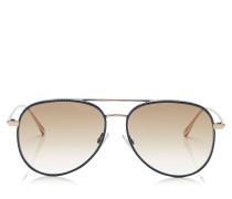 Reto Aviator Sonnenbrille in Blau und Gold mit Nietendetails