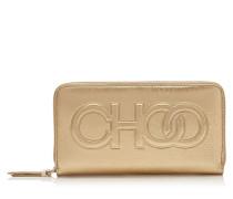 Bettina Große Brieftasche aus metallischem Nappaleder in Gold mit Logo