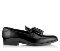 Foxley Slipper aus schwarzem Lackleder mit Quasten und Perlendetail