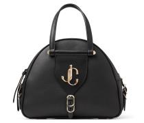 Varenne Bowling/s Bowling Tasche aus schwarzem Kalbs- und Vachetteleder mit JC Logo