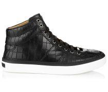 Belgravia Schwarze Ledersneakers mit Krokoprägung