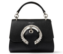 Madeline TOP Handle/s Handtasche mit Tragegriff aus Ziegen- und Kalbsleder in Schwarz und kristallbesetzter Schnalle