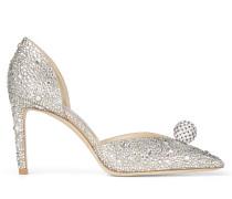Sabine 85 D'Orsay-Sandaletten aus nudefarbenem Wildleder mit Hotfix-Kristallsteinverzierung und Kugeldetail