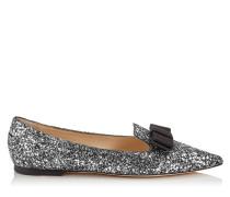 Gala Spitze flache Schuhe aus grobem Glitzergewebe in Stahl-Mix mit Sternen und Schleifendetail
