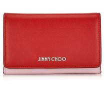 Marlie Brieftasche aus zweifarbigem Leder in Rot und Rosa