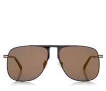 DAN Sonnenbrille mit eckigem Gestell aus schwarzem Metall und Spiegelgläsern