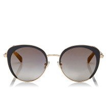 Gabby Cat-Eye Sonnenbrille in Schwarz und Gold mit kristallbesetzten Details