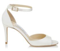 Annie 85 Peeptoe-Sandalen aus elfenbeinweißem Satin