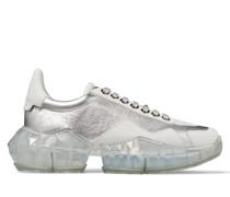 Diamond/f Sneaker aus silbernem metallischen Leder und weißem Kalbsleder
