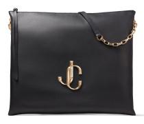 Varenne Shoulder/l Handtasche aus weichem schwarzen Leder mit JC Logo