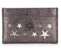 Dean Kartenetui aus stahlfarbenem Glitzerleder mit Sternen